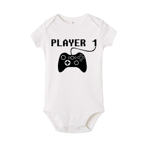 Player one letter print Baby Romper Newborn Clothing Bebe Boy Girl  Cotton Short Sleeves O-Neck play game Infant Clothes