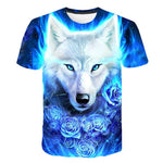 pinshun 4T-14T years teens t-shirt for boys or girls 3D wolfs printed short sleeve round collar t shirt big kids hot sale