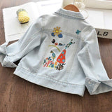 Melario Girls Coats Spring Denim Jacket for Girls Casual Cartoon Embroidery Children Clothing Outerwear for Girl Kids Clothes