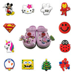 1pc Avenger Mickey Cartoon LED Lighted Flashing Spring Standing Unicorn Shoe Charms For Kids Croc JIBZ Fit Bracelets Party Gift