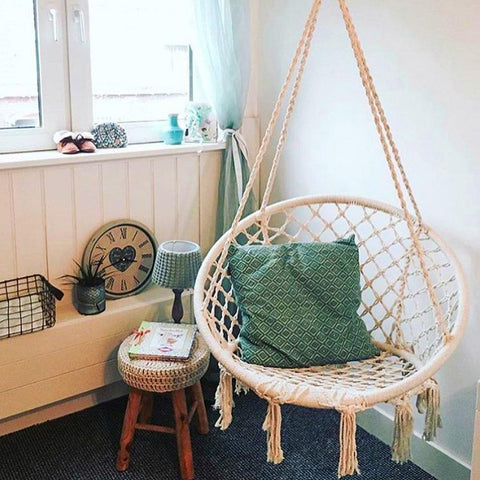 Small Round Hammock Chair Outdoor Indoor Dormitory Bedroom Yard For Child Adult Swinging Hanging Single Safety Chair Hammock