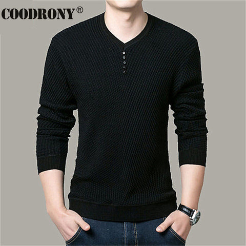 COODRONY Sweater Men Casual V-Neck Pullover Men Autumn Slim Fit Long Sleeve Shirt Mens Sweaters Knitted Cashmere Wool Pull Homme