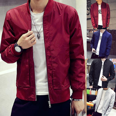 Men Solid Color Zipper Slim Fite Long Sleeve Pocket Coat Jacket Baseball Uniform