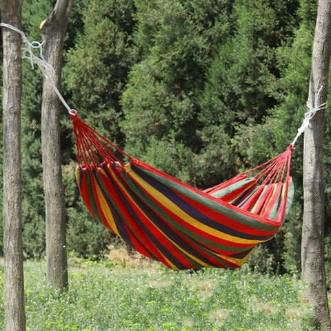 1pc  Single person Portable Hammock... great in the Garden or Travel Camper.   Canvas Stripe Red or Blue 190 x 80cm..check out the description for price with or without sticks.