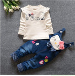 Hello Kitty Girls Clothing Sets Spring Casual Cotton Children's Suspenders Sets Full Sleeve shirt Jeans 2 Pieces Kids Clothing