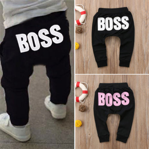 Baby Boys or  Girls Pants. Hot Letter BOSS Pants, Cotton Baby Girls Harem Pants For Baby Casual Trousers