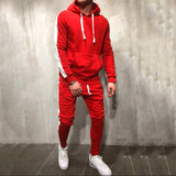 2 Pieces Sets Tracksuit Men New Brand Autumn Winter Hooded Sweatshirt +Drawstring Pants Male Stripe Patchwork Hoodies Bigsweety