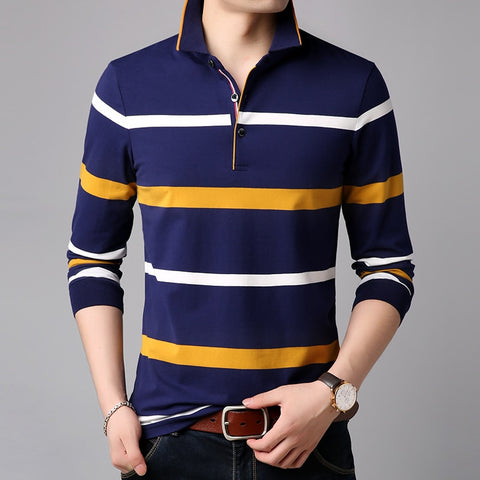New Fashions Brands Polo Shirt Men Striped Long Sleeve Slim Fit Stand Collar Cotton Polos Casual Mens Clothing