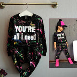 New fashion girls tracksuit baby kids sport clothes set coloful letter printed children suit clothing set for 2-7years old