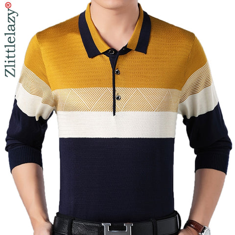 Designer brand long sleeve slim fit polo shirt men casual jersey striped mens polos vintage luxury quality tee shirt 56812