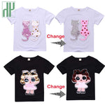 Kids tshirt Sequins Cartoon Cat unicorn t shirt boys summer 2019 Teen Clothes toddler Girls Teenage Children Shirts 6 8 10 Year