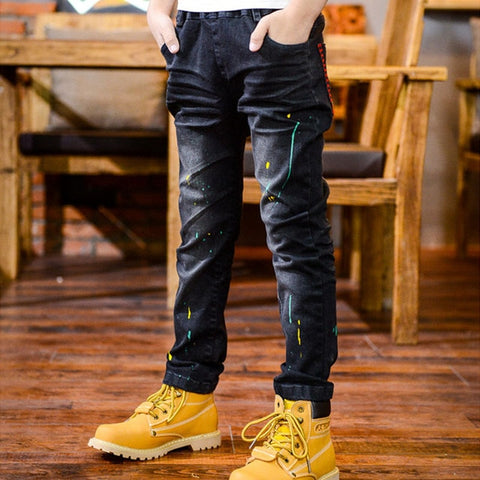 IENENS 5-13Y Young Boy Boys Slim Straight Jeans Casual Trousers Kids Children Fashion Denim Long Pants Baby Elastic Waist Pants