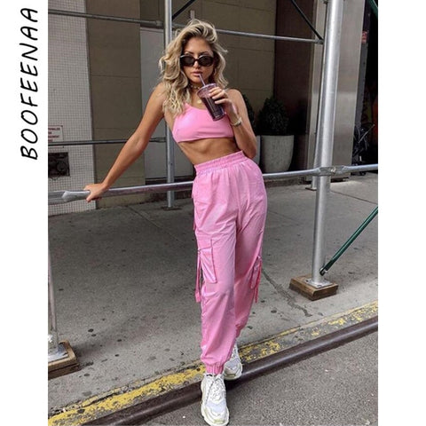 BOOFEENAA Pink Sexy Two Piece Set Crop Top and Cargo Pants Suits Streetwear Tracksuit Women Summer Clothes Matching Sets C68AE64