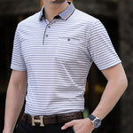 Thoshine Brand Men Striped Polo Shirts 95% Viscose Fashion Smart Casual Polo shirt Business Style Plaid Dot Camisa Pockets Tops