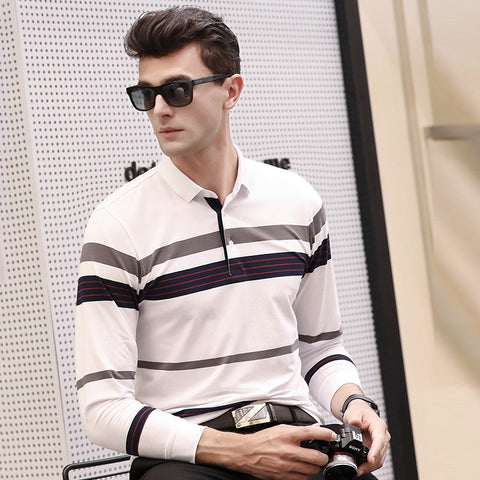 New Men's Polo Shirt Simple Fashion Striped Color Matching Lapel Long Sleeve Korean Slim Cotton
