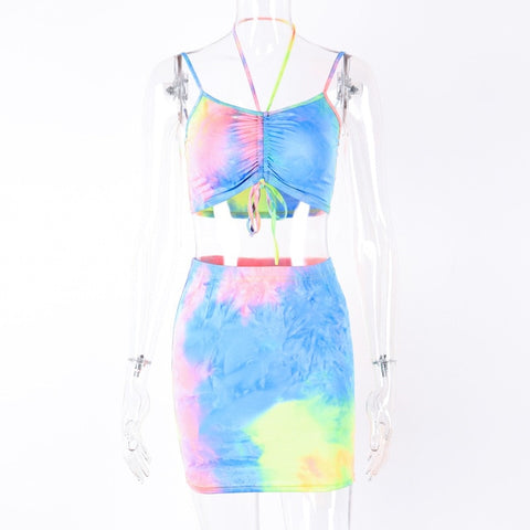 Dulzura   Summer women two piece set tie dye skirt set 2 piece sexy streetwear festival clothes tracksuit outfits.