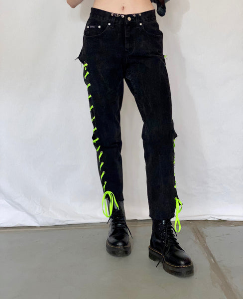 Black Laced Jeans - pants - Freak-i$h