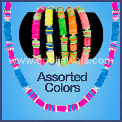 Assorted Color Neon Shell Beaded Neck Choke Necklaces