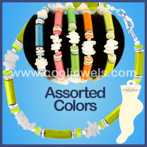 Assorted White Chip and Neon Shell Anklets