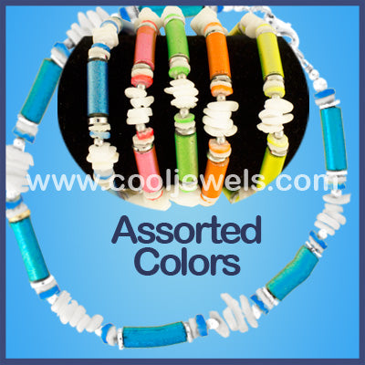 Assorted White Chip and Neon Shell Bracelets