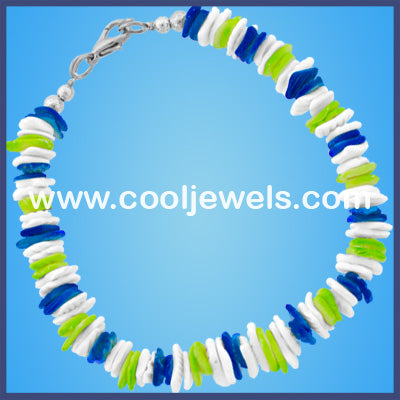 White and Neon Shell Chip Bracelets