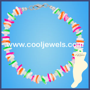 White and Neon Shell Chip Anklets