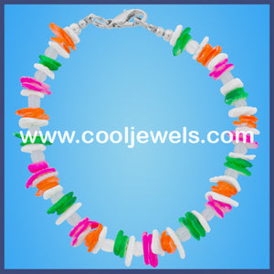 White and Neon Shell Chip Bracelet