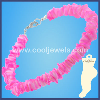 Assorted Colored Neon Shell Anklets