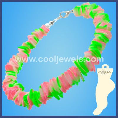 Assorted Colored Two Toned Neon Shell Anklets