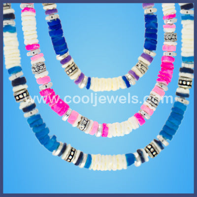 Neon and White Neon Chip Bead Bracelets