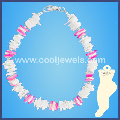 White and Color Shell Chip Anklets