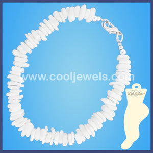 White Shell Chip Anklets