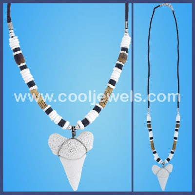 Coco Bead Shark Tooth Necklace