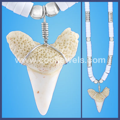 Silver Beaded Shark Tooth Necklace