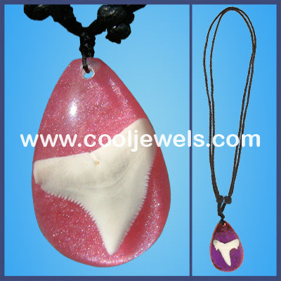 Acrylic Teardrop with Shark Tooth Necklace