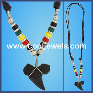 Rasta Black Shark Tooth Necklace