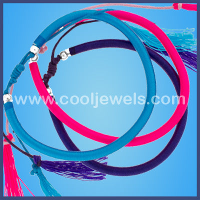 Wrapped String Slider Tassel Bracelets