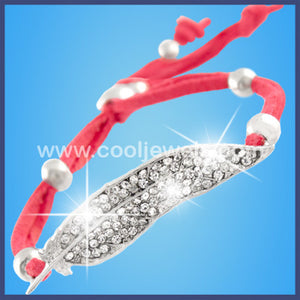 Assorted Colored Woven Rhinestone Leaf Bracelets