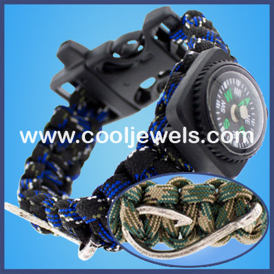 Paracord Whistle Compass Hook Bracelets