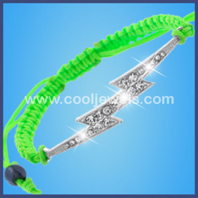 Assorted Woven Rhinestone Lightning Bolt Bracelets