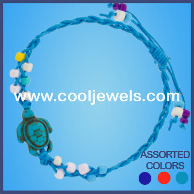 Assorted Woven Colored Turtle Bracelets