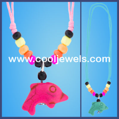 Woven Colored Dolphin Necklaces
