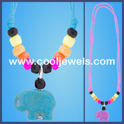 Woven Colored Elephant Necklaces
