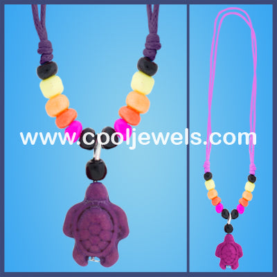 Woven Colored Turtle Necklaces