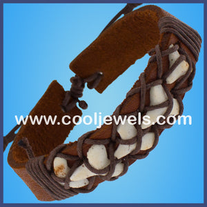 Leather Slider Imitation Shark Teeth Bracelets