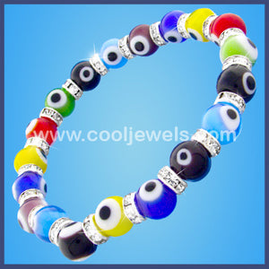 Glass Evil Eye Beads & Rhinestone Bracelet