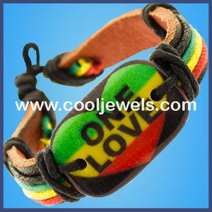 Leather Rasta Slider One Love Bracelets