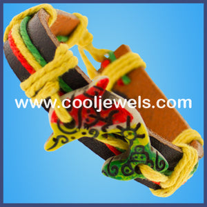 Leather Slider Rasta Colored Dolphin Bracelets