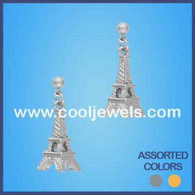 Matte Finish Eiffel Tower Rhinestone Earrings