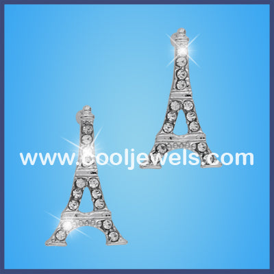 Silver Eiffel Tower Rhinestone Earrings